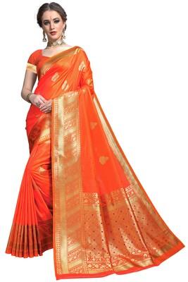 Orange woven printed saree with blouse