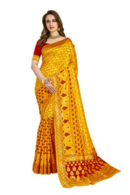 Yellow woven printed saree with blouse