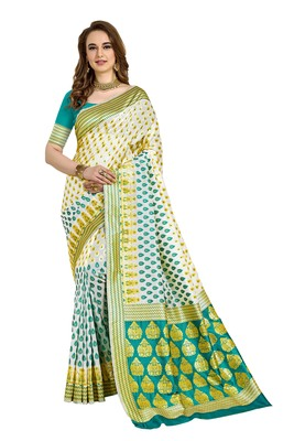 White woven printed saree with blouse