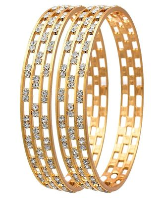 Gold Plated Stone Studded Bangles Set Of 2