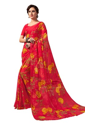 Red printed chiffon saree with blouse