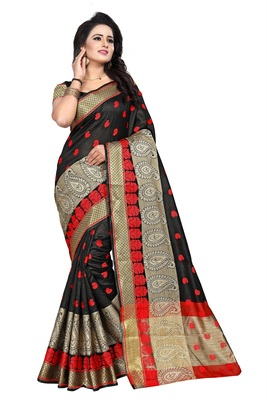 Black woven cotton silk saree with blouse