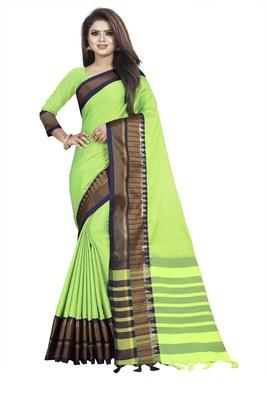 Dark parrot green plain cotton saree with blouse