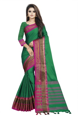 Green plain cotton saree with blouse