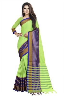 Parrot green plain cotton saree with blouse