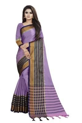 Light purple plain cotton saree with blouse
