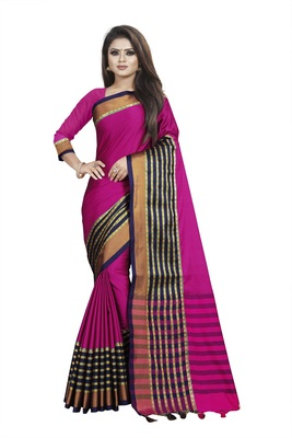 Pink plain cotton saree with blouse