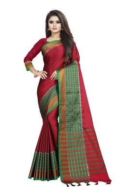 Maroon plain cotton saree with blouse