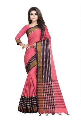 Light pink plain cotton saree with blouse