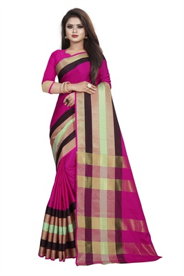 Dark pink plain cotton saree with blouse