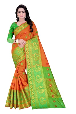 Orange woven cotton saree with blouse