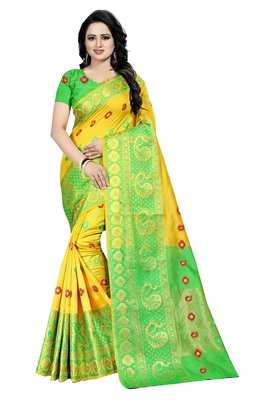 Yellow Weaving Embroidered Cotton Silk Saree With Blouse