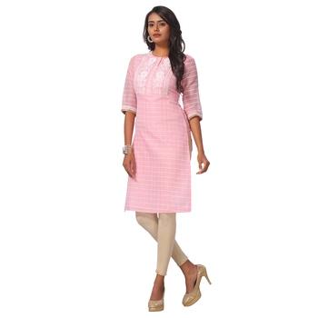 Pink printed satin ethnic-kurtis