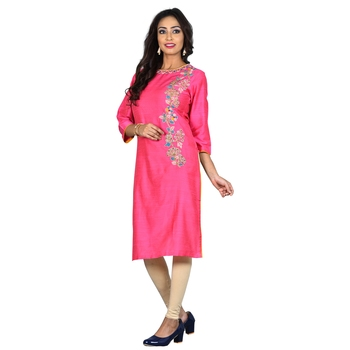 Pink embroidered silk ethnic-kurtis