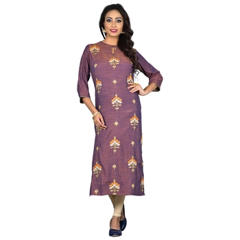 Purple embroidered rayon ethnic-kurtis