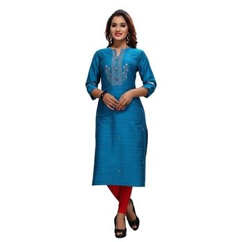Blue embroidered jacquard ethnic-kurtis