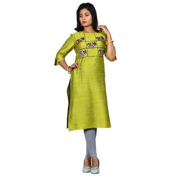 Green embroidered jacquard ethnic-kurtis