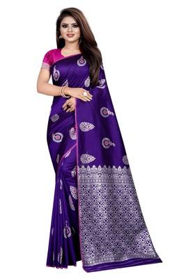 Blue printed jacquard saree with blouse