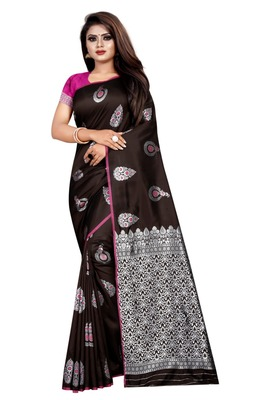 Coffee printed jacquard saree with blouse