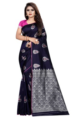 Dark blue printed jacquard saree with blouse