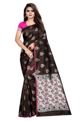 Coffee printed jacquard saree with blouse