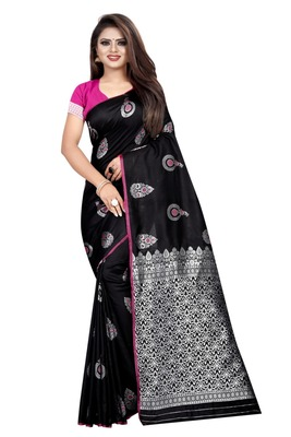 Black printed jacquard saree with blouse