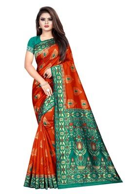 Orange printed jacquard saree with blouse