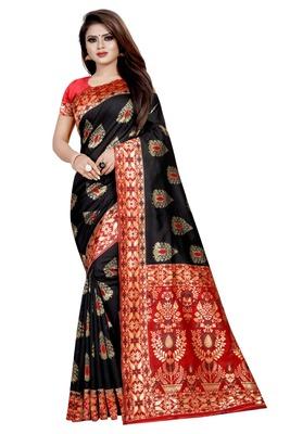 Black printed jacquard saree with blouse