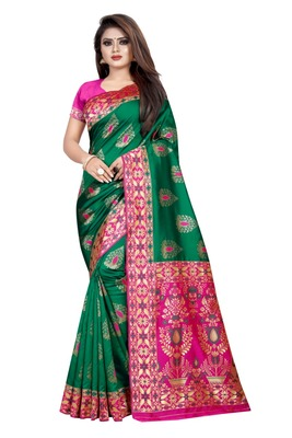 Green printed jacquard saree with blouse