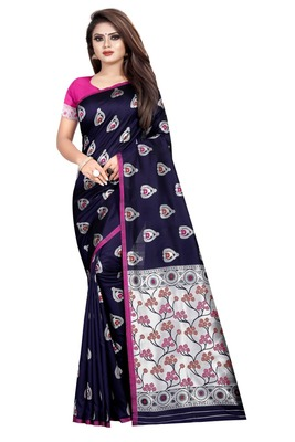 Blue printed jacquard saree with blouse