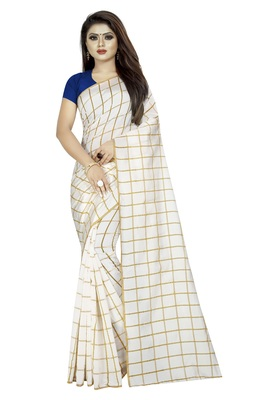 White plain cotton saree with blouse