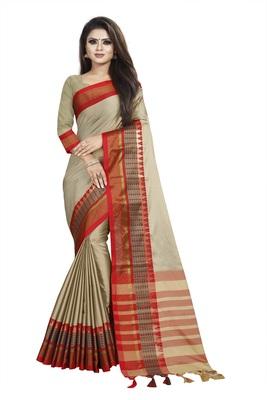 Cream plain cotton saree with blouse
