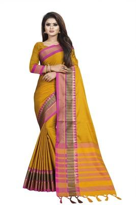 Mustard plain cotton saree with blouse