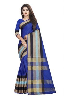 Blue plain cotton saree with blouse