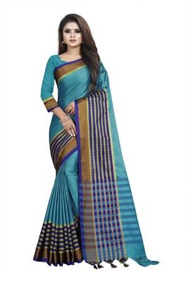 Sky blue plain cotton saree with blouse