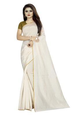 White plain cotton saree with blouse