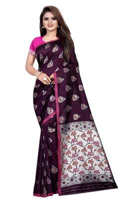 Purple printed jacquard saree with blouse