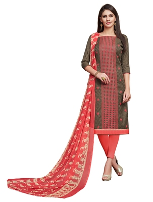 Blissta Olive Green Cotton Jacquard Embroidered Unstitched Straight Suit With Printed Dupatta