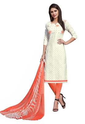 Blissta White Cotton Jacquard Embroidered Unstitched Straight Suit With Printed Dupatta