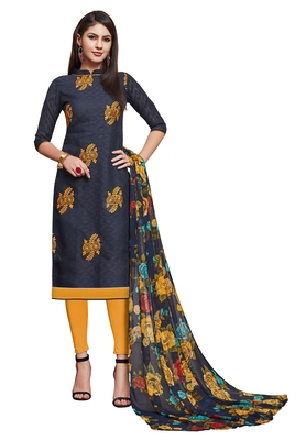 Navy-blue embroidered cotton unstitched salwar with dupatta