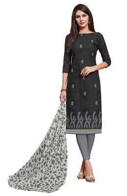 Blissta Black Cotton Jacquard Embroidered Unstitiched Straight Suit With Printed Dupatta