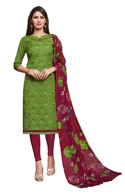 Blissta Mahendi Green Cotton Jacquard Embroidered Unstitched Straight Suit With Printed Dupatta