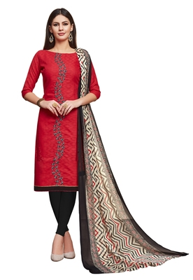 Blissta Red Cotton Jacquard Embroidered Unstitched Straight Suit With Printed Dupatta