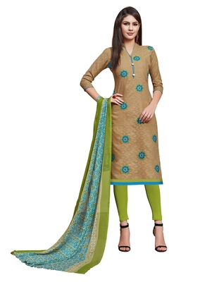 Blissta Light Brown Cotton Jacquard Embroidered Unstitched Straight Suit With Printed Dupatta