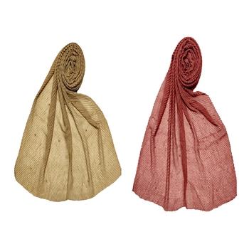 Premium Cotton Crush Designer Diamond Studed Stole Stole For Women Set Of 2