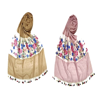 Premium Cotton Designer Flower Diamond Studed Stole Stole For Women Set Of 2