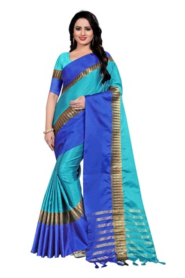 Blue Weaving Embroidered Cotton Saree With Blouse