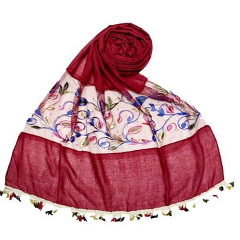 Maroon Designer Flower Ari Diamond Collection Stole For Women
