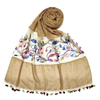 Brown Designer Flower Ari Diamond Collection Stole For Women