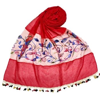Red Designer Flower Ari Diamond Collection Stole For Women